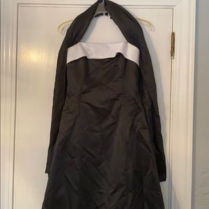 Black with white trim prom/bridesmaid dress
